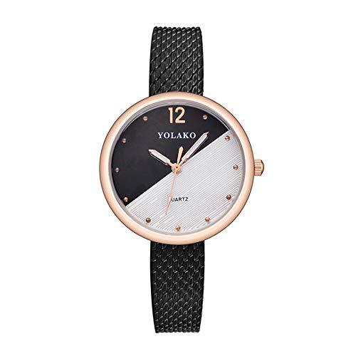 Uhr Ladies Watch Bracelet Gift PVC Grid Strap Female Student Watch 2 Color Spliced Surface Quartz Decorative Women's Watch-Schwarz