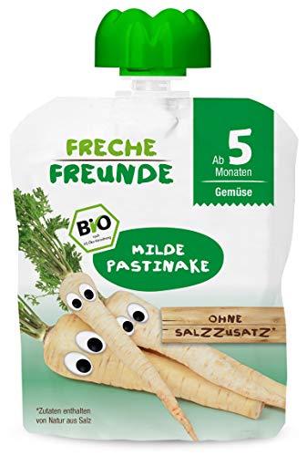 FRECHE FREUNDE Bio Beikost Gemüse Quetschie Milde Pastinake, Babynahrung ab dem 5. Monat, glutenfrei & vegan, 7er Pack (7 x 70 g)