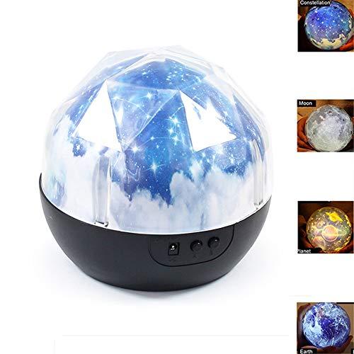 ZQDENG Ciel constellé Lampe de projecteur Magique Constellation/Lune/Terre/Planète en Rotation Galaxy LED Nuit Lumière Cosmos Univers Lumière pour Outil de Fête Chambre
