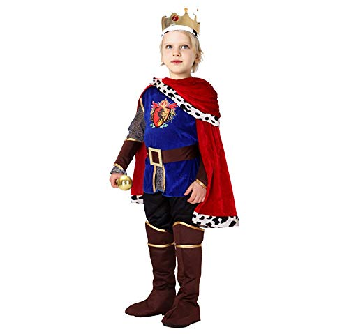 Boys Prince Charming Costume Medieval Noble Prince King Cosplay Outfits Halloween Fancy Dress (Prince/King, Large)