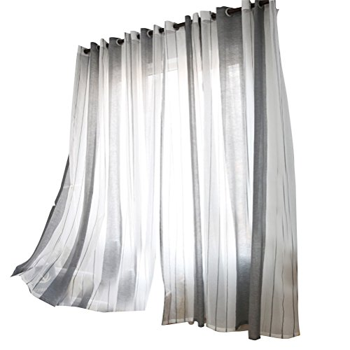 IMIKEYA Linen Window Sheer Vertical Stripe Window Tulle with Hooks Voile Curtains...