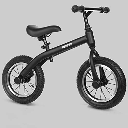 YQ&TL Niño Niña Bicicleta,Bicicleta de Equilibrio 2-6 Años,Rueda Inflable de Goma,Sin Pedales,con Herramientas de Instalación B/Black