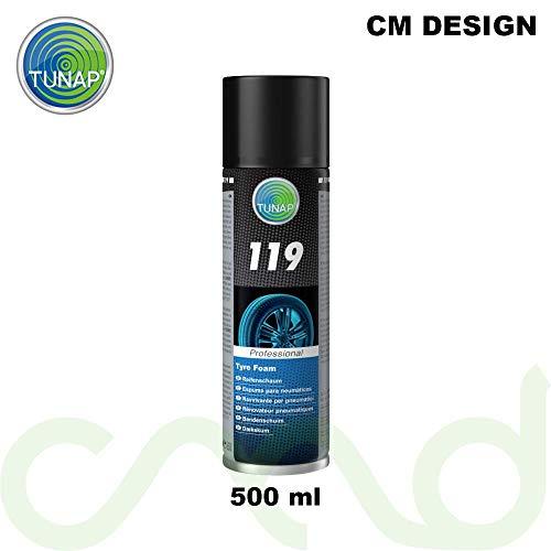 CM DESIGN Espuma para neumáticos Tunap 119, 500 ml, para el tratamiento óptico de los neumáticos, limpia, cuida y protege los flancos de los neumáticos.