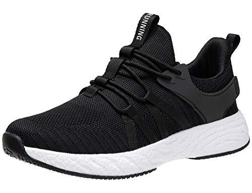KEENPACE Neutral Laufschuhe Turnschuhe Herren Damen Leichte Atmungsaktiv Sportschuhe Sneaker Outdoor Schuhe für Fitness Jogging Dämpfung rutschfest Bequeme schwarz weiß 43