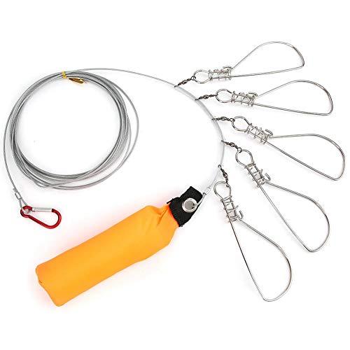 Vbest life Accesorio de Cable de Cerradura de Pesca de Alambre de Acero Inoxidable con 5 Hebillas móviles de Bloqueo