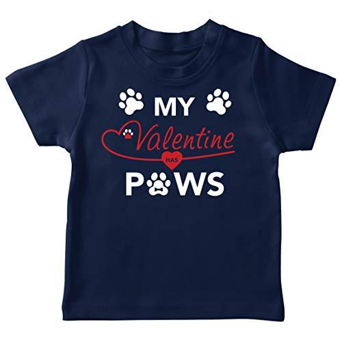 lepni.me Camiseta para Niños Mi San Valentín Tiene Patas Lindo Gato Mamá Perro Papá Amante de Las Mascotas Regalo (5-6 Years Azul Oscuro Multicolor)