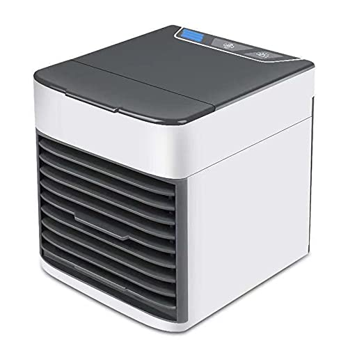 Air Cooler Portable, HISOME 3 IN 1 Mini Air Conditioner Humidifier Purifier Cooling Fan, USB Evaporative Air Cooler with 4 Fan Speeds, Mobile Air Conditioning for Home or Office