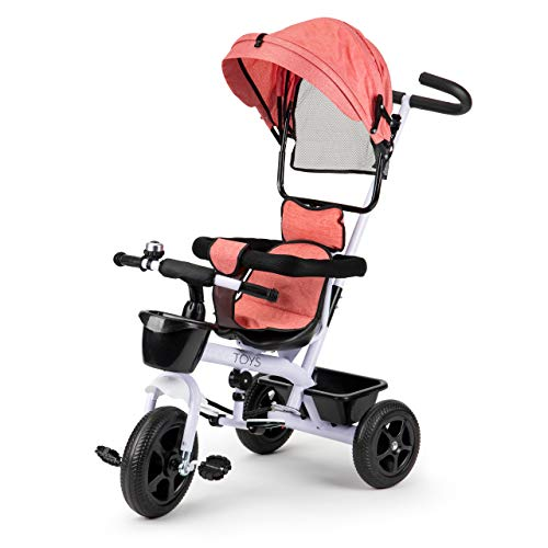 ECOTOYS - Triciclo para cochecito de bebé, color blanco