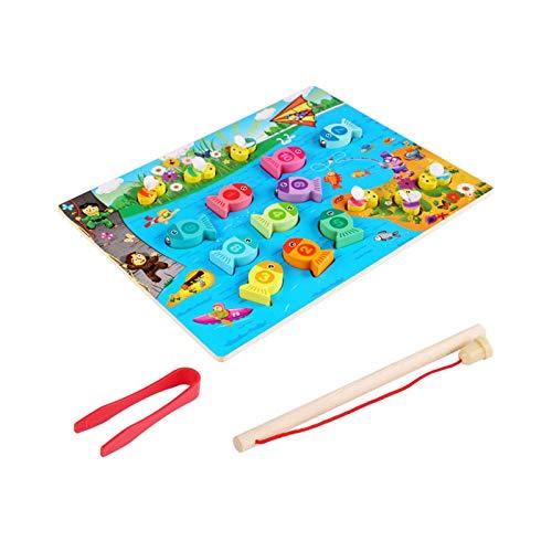 YYQIANG Giocattoli educativi per Bambini 2 in 1 Magnetico in Legno di Pesca Clip Ape Gioco Infantile Istruzione Iniziale didattico Aiuto Genitore-Bambino Gioco interattivo Gioco per Ragazzi e Ragazze