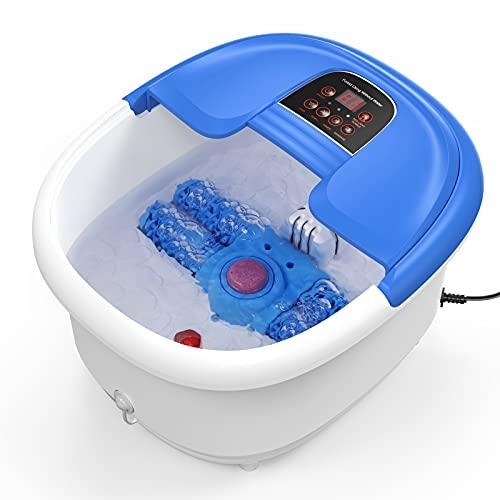 Hidromasaje para Pies con Rodillo Automático Spa Pies Masajeador de Pies con Agua con Burbujas Calentamiento Vibración con 4 Rodillos de Masaje y Piedra Pómez para Relajar los Pies