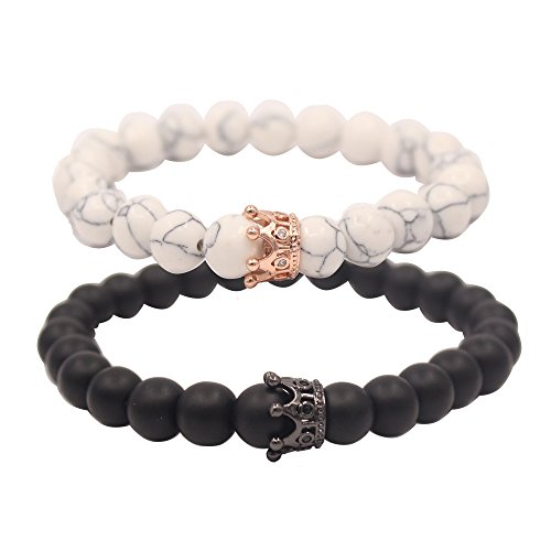 UEUC Distance Couple Bracelet with CZ Crown King&Queen Black Matte Agate & White Howlite 8mm Beads Bracelet