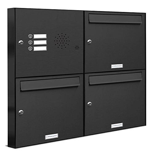 AL Briefkastensysteme 3er Briefkasten in Anthrazitgrau RAL 7016 mit Klingel, 3 Fach Briefkastenanlage Aufputz modern Postkasten