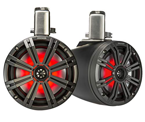 Kicker KMTC8 (200mm) Loaded Marine Cans with 45KM84L speaker pair; charcoal grill on black can