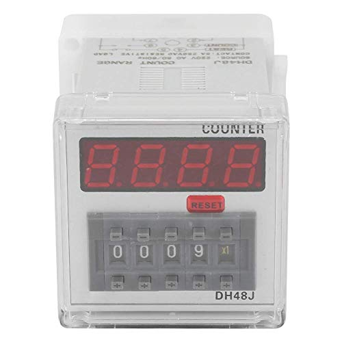 GNLIAN HUAHUA Cicly Timer Relay LED Contador de relé, DH48J 220VAC Contador Protección Digital Display LED 1-999900 8-Pin Tablero Industrial