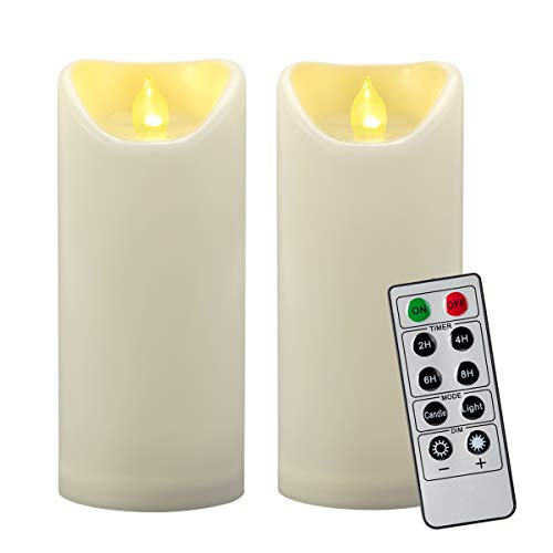 2PCS 7' Outdoor Waterproof LED Flameless Pillar Candles with Remote & Timer/Large Flickering Battery Operated Electric Ivory Plastic Fake Candles for Outside Patio Lantern Fireplace Decorations