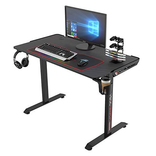 soges Gaming Tisch Computertisch Schreibtisch Smarter Gamingtisch Ergonomisches Design,mit XL Mousepad und Organisierungszubehör,T Förmig 115 * 60 * 75,5CM