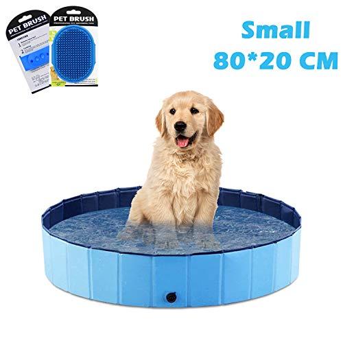 O'woda Piscina para Perros, Mascotas, Plegable Bañera de Perros, PVC Antideslizante y Resistente, con Cepillo de Baño para Mascotas (S/80 * 80 * 20 cm)