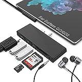 Surface GO Hub, estación de Acoplamiento Surface GO 2, estación de Acoplamiento Surface Go 6 en 1, Adaptador de concentrador USB C con HDMI 4K, Ranura para Tarjeta SD / TF (Micro SD)