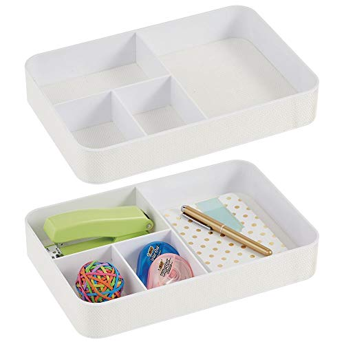 mDesign Plastic Divided Drawer Organizer Tray for Home Office, Desk Drawer, Shelf, Closet - Holds Highlighters, Pens, Scissors, Adhesive Tape, Paper Clips, Note Pads - 4 Sections, 2 Pack - White