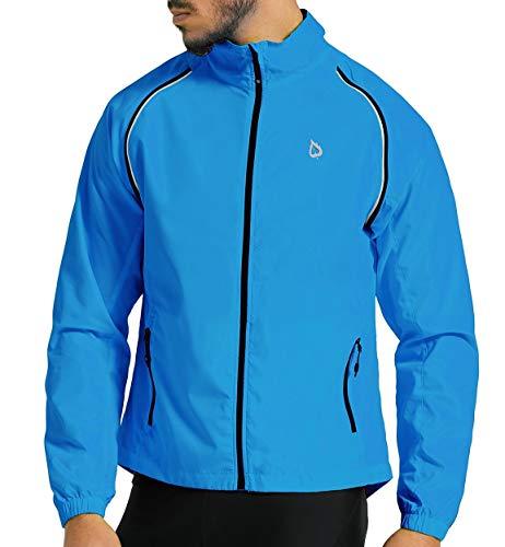 BALEAF Men's Cycling Jacket Windbreaker Running Vest Windproof Water-Resistant Coat High Visibility Lightweight Blue Size XL