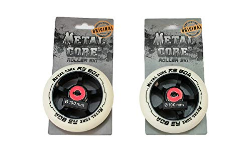 Metal Core Pack 2 Ruedas Ruedas RS80A para Scooter Freestyles, Rollerskies, Diámetro 100 mm (Blanca)