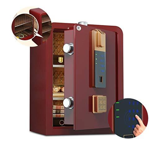 Sieraden Safe Home Office Vingerafdruk Wachtwoord Één-klik Om Te Openen Bestand Doos All-staal Anti-diefstal Garderobe 45, 60cm Hoog Nachtkastje (Color : Red, Size : 40 * 36 * 45cm)