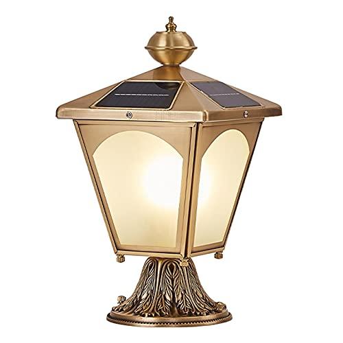Threesome Luces de Tapa de Poste Solar, luz de Poste Solar, Patio, jardín, lámpara de Pilar de luz de Columna de cenador, luz para Cerca, Material de latón