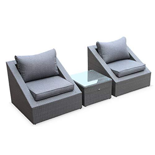 Salon de Jardin 2 Places - Triangolo - résine tressée Grise. Coussins Gris. fauteuils + 1 Table Basse. empilables