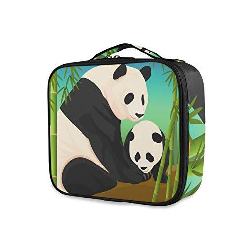 Outils Cosmétique Train Case Portable Maquillage Sac Trousse De Toilette Voyage Boîte De Rangement Panda Mère Fils Bambou Forêt