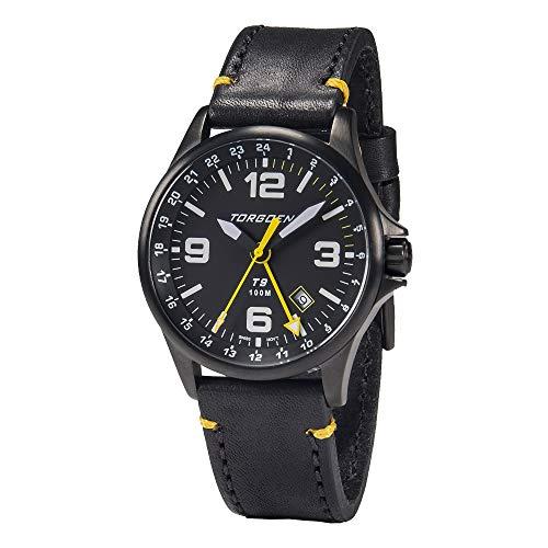 Torgoen T9 Matte Black GMT Pilot Watch | 42mm - Black Leather Strap