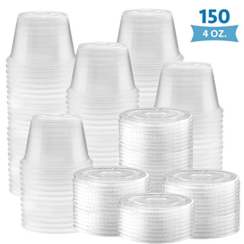150-Pack of 4-oz Clear Plastic Jello Shot Cups Containers with Snap on Leak-Proof Lids –Small Shot Cups – Compact Food Storage Containers for Portion Control, Sauces, Spices, Liquid, Dips
