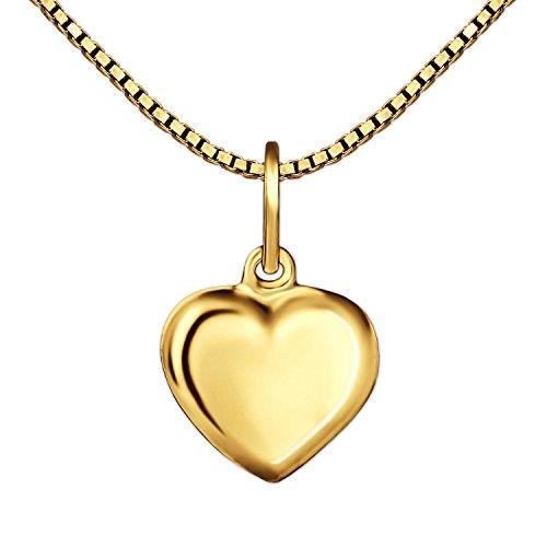 CLEVER SCHMUCK Set Goldener Kleiner Anhänger Mini Herz 8 mm beidseitig leicht gewölbt geschlossen glänzend 333 Gold 8 Karat und vergoldete Kette Venezia 40 cm für Kinder im Etui rot