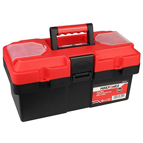 MAXPOWER Tool Box 14-inch Plastic Small Tool Boxes with Removable Tray with Dual Lock Secured, Red