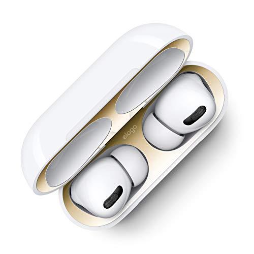 elago Dust Guard Staubschutz Aufkleber Kompatibel mit Apple AirPods Pro – Upgraded-Staubdichte Folie, Luxuriöses Aussehen, Schützt vor Eisen- und Metallspänen [US Patent gemeldet] (1 Stück, Gold)