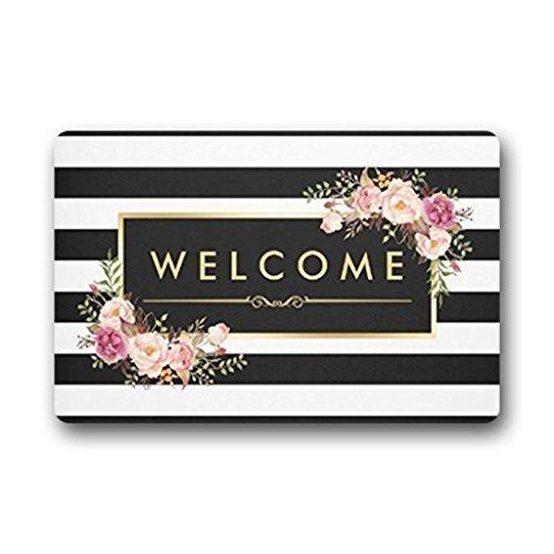Eureya Fußmatte Welcome Fußmatte für Wohnzimmer, Blumenmuster, schön, gestreift, Schwarz/Weiß, 40x 60cm