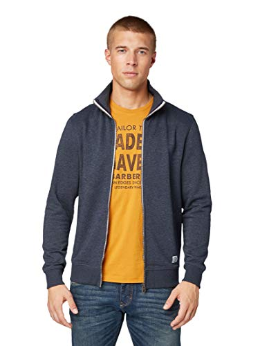 TOM TAILOR Herren Strick & Sweatshirts Sweatjacke mit Stehkragen Washed Knitted Navy Melange,L,11078,6000