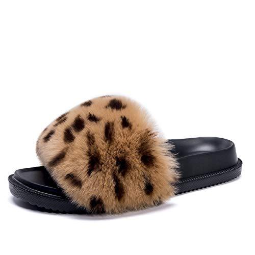 AONEGOLD Pantofole Donna con Pelo Ciabatte Pelose Moda Comfy Fuzzy Fuffy Sandali Punta Aperta Piatto Antiscivolo Slipper Outdoor/Indoor(Leopardo,Taglia 36)