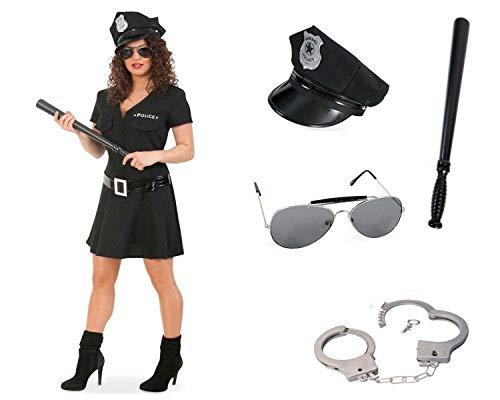 KarnevalsTeufel Kostüm Komplett Paket Police Woman, schwarz, Officer, Cop Uniform Polizistin Damenkostüm Special Agent Karneval, Polizei 5 Teile (38)