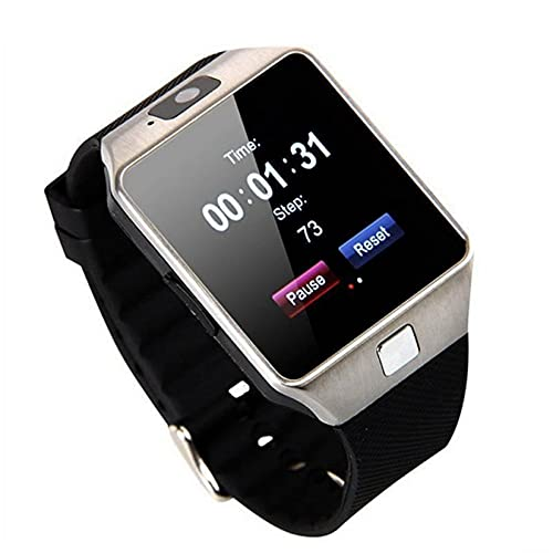 DZ09 Reloj Inteligente, Reloj de Pulsera con Pantalla táctil de 1,56 Pulgadas con cámara Bluetooth con Ranura para Tarjeta SIM Monitor de sueño con podómetro para xiaomi iPhone Samsung (Plateado)