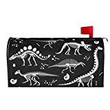 Mantaiyuan Mailbox Cover Black and White Dinosaur Skeleton Letter Box Cover Magnetic Mail Wraps Post Garden Decorations 21x18 in