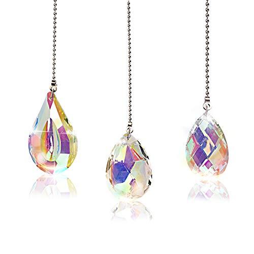 Herefun Kristall Prisma Anhänger, Kristall Sonnenfänger Garten, Kristall Sonnenfänger zum Fenster Aufhängen Groß Hängende für Dekoration (76mm/63mm/50mm)
