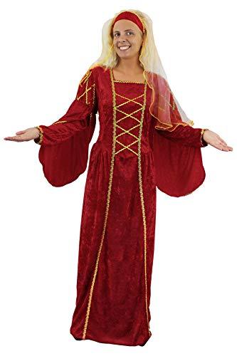 0112PDRDBG4 ILOVEFANCYDRESS Costume de Princesse médiévale pour Adulte. Robe Couleur Rouge Imitation Velour + Coiffe Muni d'un Voile.