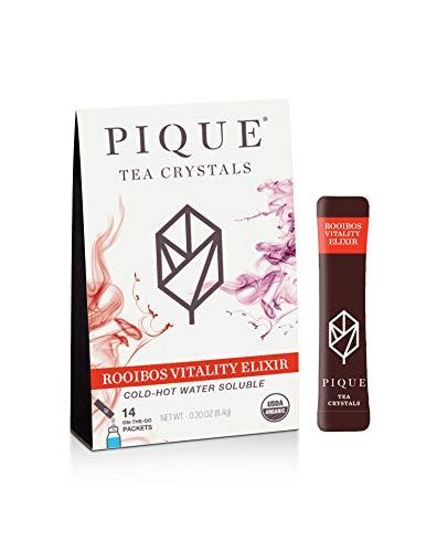 Pique Tea Organic Rooibos Vitality Elixir - Immune Support, Gut Health, Calm - 1 Pack (14 Sticks)