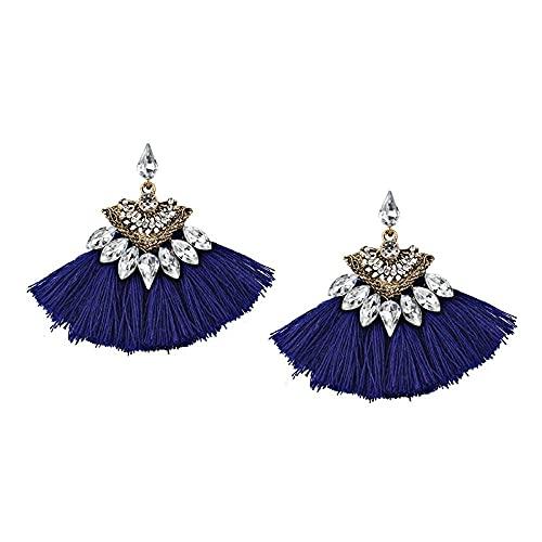 Pendientes para niñas, QWEA Pendientes colgantes de cristal de hoja de moda pendientes estilo terciopelo étnico colgante de personalidad pendientes femeninos 9