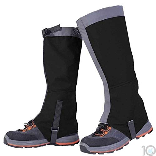 10Dare Gaiters for Snow, Tropical Forests,Outdoors | Water/Snow/Bite Resistant (Black, Large)