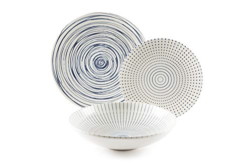 Excelsa Hanami - Vajilla de 18 piezas, cerámica, blanco y azul