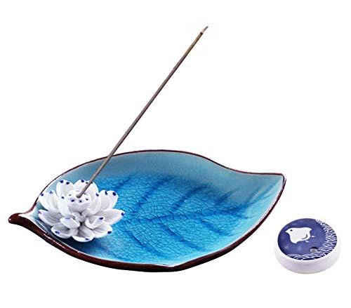 Zhou-long - Quemador de incienso de cerámica decorativo de loto para...