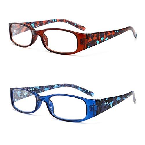 Outech Gafas de Lectura con Estilo, Gafas para Leer Cómodas, Templos de Color, Rectangular Rojo/Azul/Marrón, 2 Pares, Unisex
