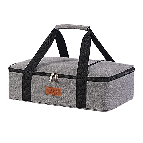 """Lunch Bag Insulated Thermal Food Carrier Insulated Casserole Carrier for Hot or Cold Food,Insulated Tote Bag for Potluck Cookouts/Parties/Picnic, Lasagna Lugger,Fits 9""""x13"""" Baking Pan,Gray"""