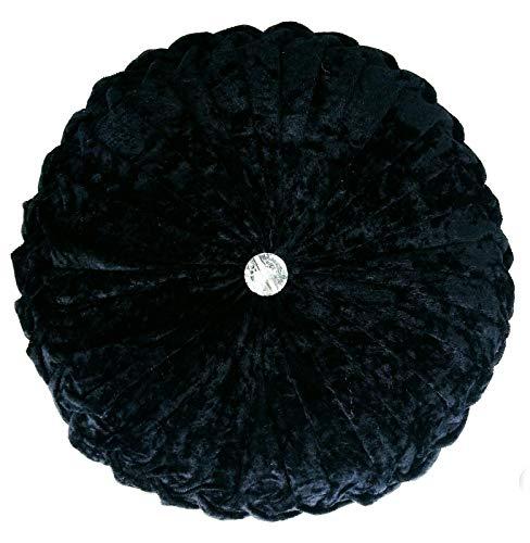 Cushion Crush Velvet Cushions Diamante Chic Filled Scatter Cushion Round (BLACK)